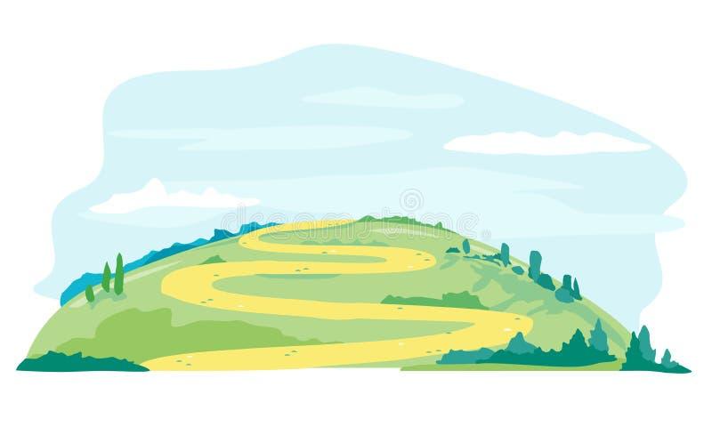 Strada di avvolgimento lunga sulla collina illustrazione vettoriale