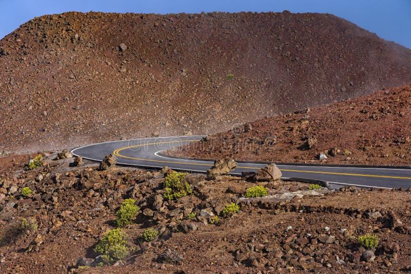 Strada di bobina al parco nazionale Maui Hawai U.S.A. di Haleakala immagini stock libere da diritti