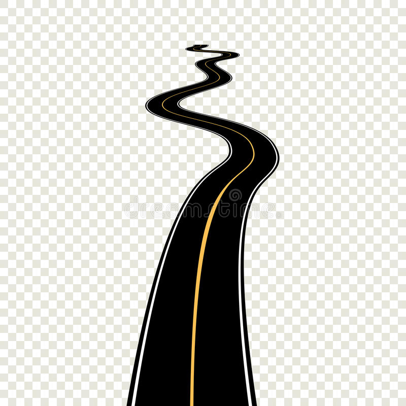 Strada di bobina curva con le marcature bianche Illustrazione ENV di vettore royalty illustrazione gratis