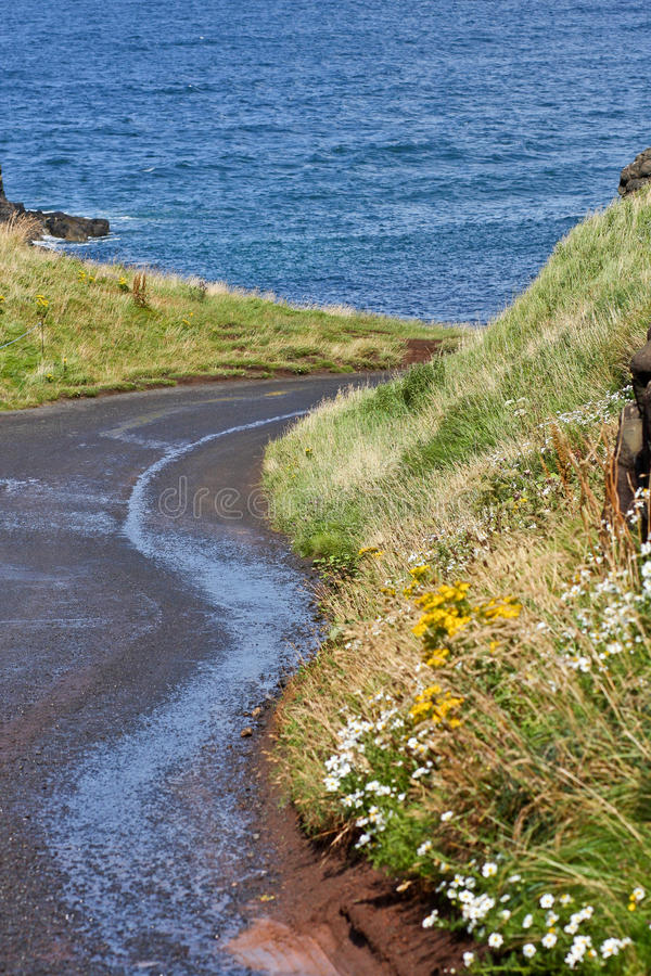 Strada di bobina lungo la costa irlandese, Irlanda del Nord fotografie stock libere da diritti