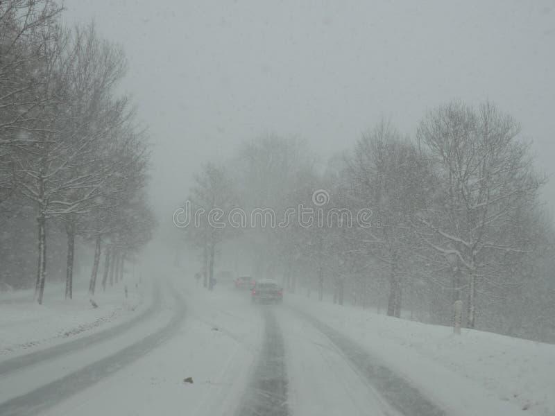 Strada di guida di veicoli nella bufera di neve della neve fotografia stock libera da diritti