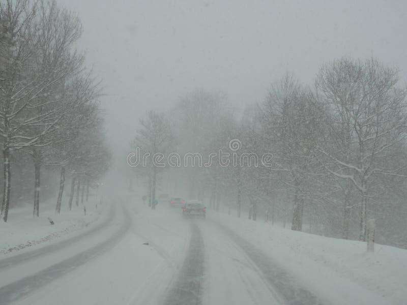 Strada di guida di veicoli nella bufera di neve della neve fotografia stock