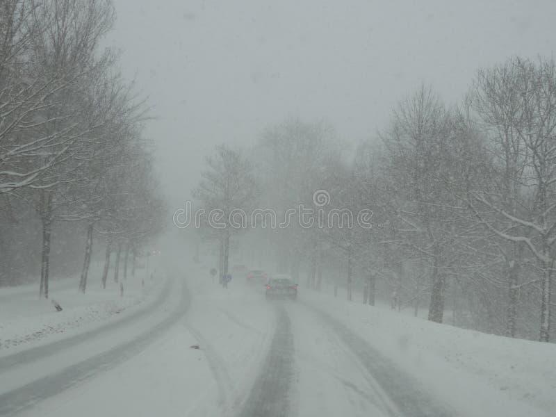 Strada di guida di veicoli nella bufera di neve della neve immagini stock