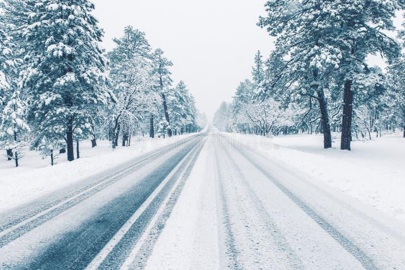 Strada di inverno coperta da ghiaccio immagini stock libere da diritti