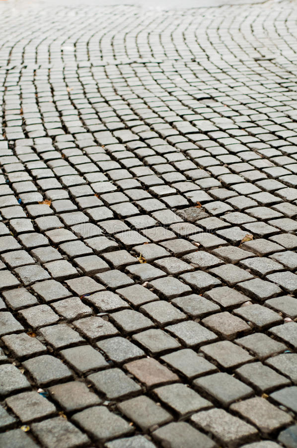 Strada di massima della pavimentazione del Cobblestone fotografia stock
