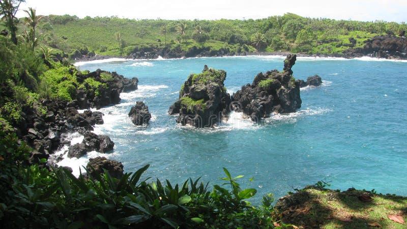 Strada di Maui a Hana Ocean immagine stock
