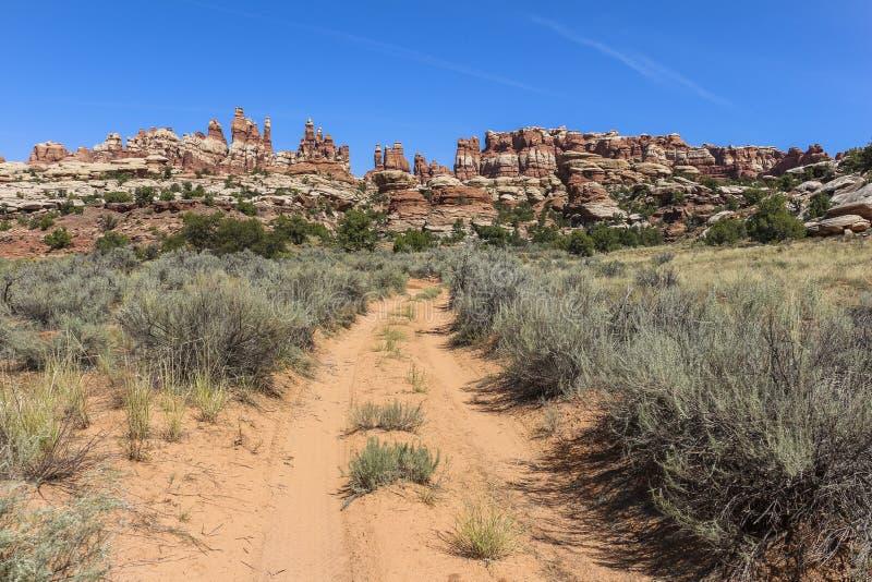 Strada di quattro ruote motrici nel distretto degli aghi, Canyonlands fotografie stock