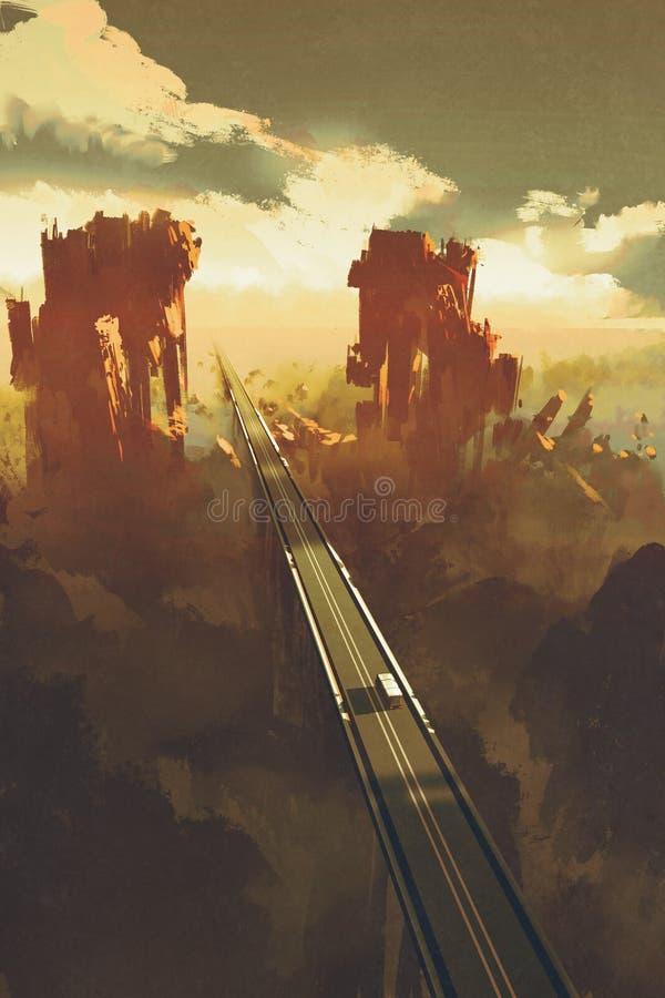 Strada diritta attraverso i canyon della roccia illustrazione vettoriale