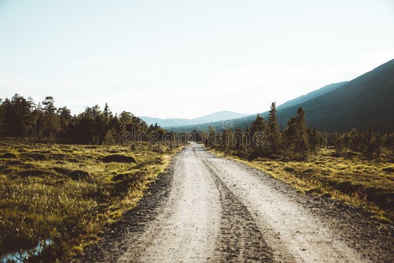 Strada a distanza nella valle di Finndalen in Norvegia fotografia stock libera da diritti
