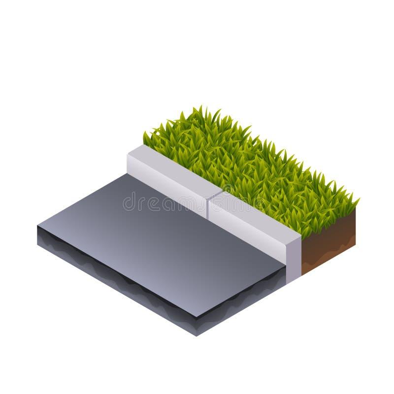 Strada ed erba isometriche illustrazione di stock