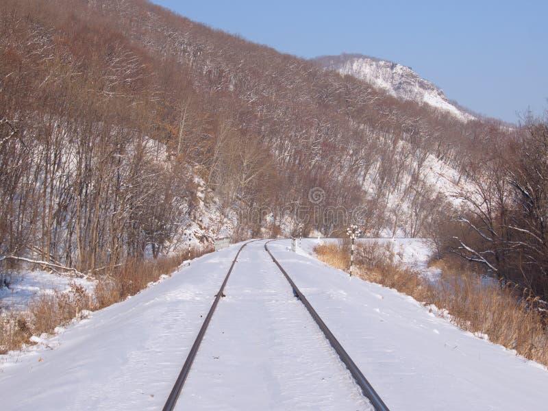 Strada ferrata ad un pendio di montagna immagini stock
