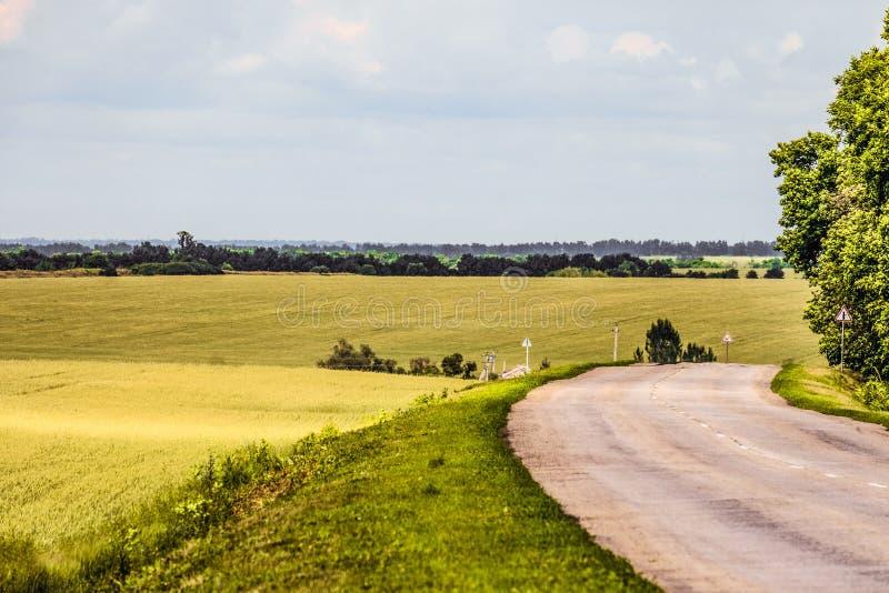 Strada fra i campi verdi collinosi Giro della strada asfaltata rurale vecchia fotografia stock