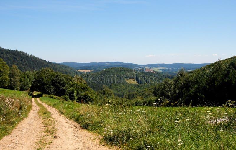 Strada fra le colline verdi fotografia stock libera da diritti