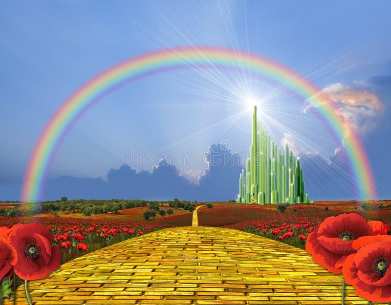 Strada gialla del mattone ad Oz illustrazione di stock