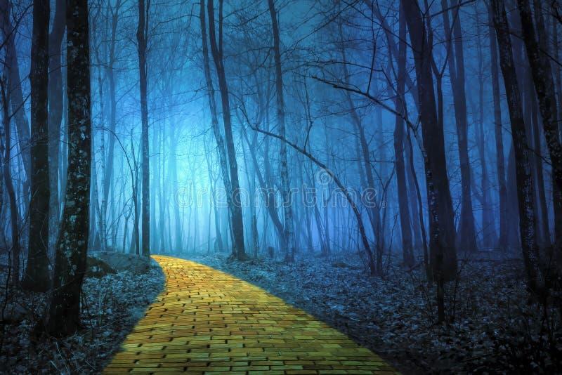 Strada gialla del mattone che conduce attraverso una foresta spettrale immagine stock