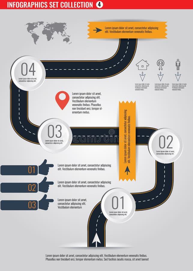 Strada infographic con l'illustrazione variopinta di vettore del puntatore del perno illustrazione vettoriale