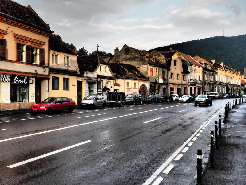 Strada Lungă (The long street) in Brasov, Romania royalty free stock images