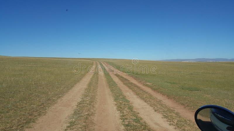 Strada Mongolia della steppa fotografie stock