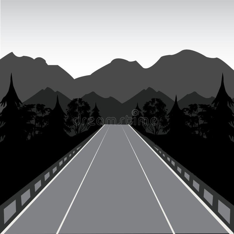 Strada in montagna illustrazione vettoriale