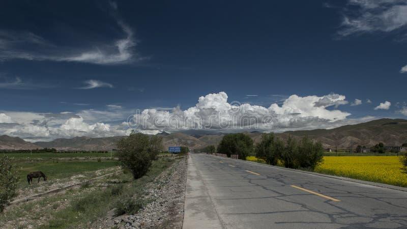 Strada nel Tibet fotografie stock libere da diritti