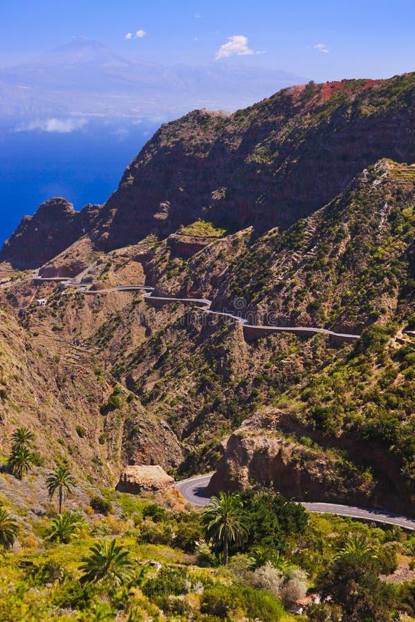 Strada nell'isola di Gomera della La - canarino immagine stock