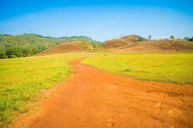 Strada non asfaltata alla montagna, Ranong Tailandia fotografie stock