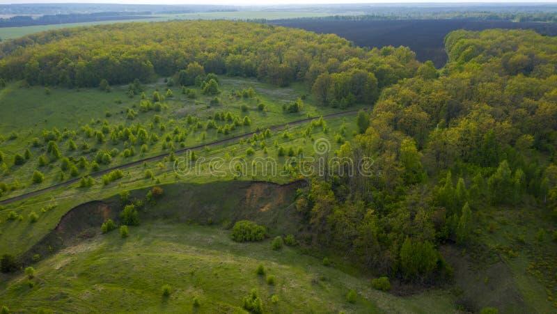 Strada non asfaltata attraverso i prati, foreste, campi da una veduta panoramica, con un quadrocopter immagini stock libere da diritti