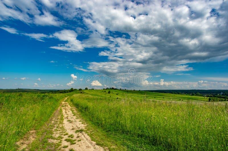 Strada non asfaltata attraverso il campo verde immagini stock libere da diritti