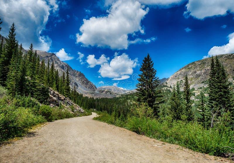 Strada non asfaltata nel Colorado Rocky Mountains fotografia stock