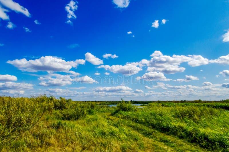 Strada non asfaltata nella steppa sui precedenti di cielo blu e delle nuvole fotografia stock