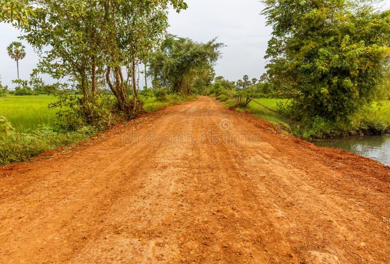 Strada non asfaltata rossa che passa attraverso il campo verde in una campagna fotografia stock