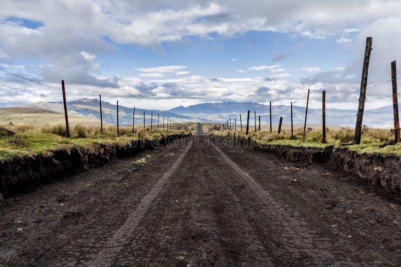 Strada non asfaltata vuota nell'Ecuador fotografia stock