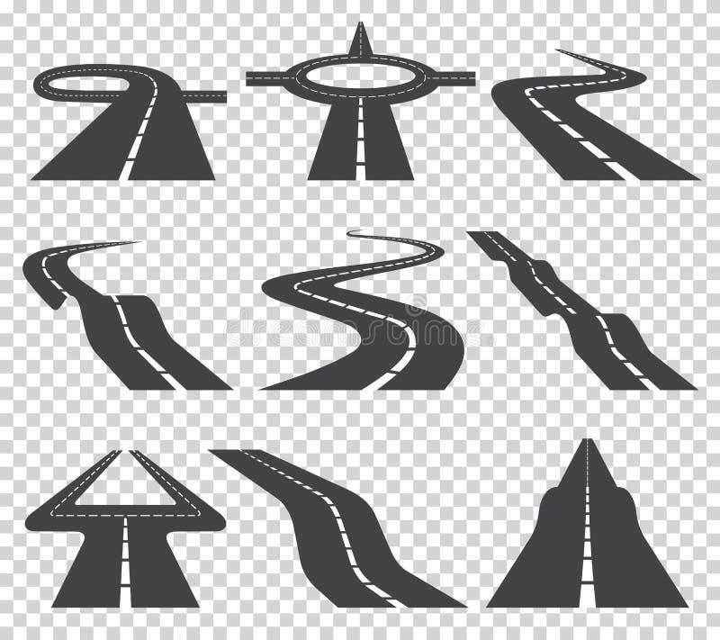 Strada o strada principale curva d'avvolgimento con le marcature Direzione, insieme del trasporto Illustrazione di vettore royalty illustrazione gratis