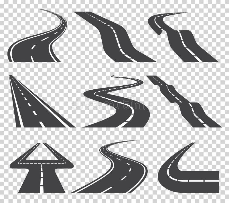 Strada o strada principale curva d'avvolgimento con le marcature Direzione, insieme del trasporto Illustrazione di vettore illustrazione vettoriale