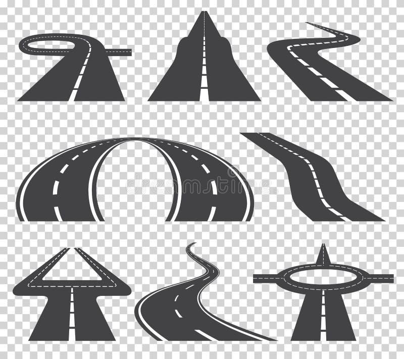 Strada o strada principale curva d'avvolgimento con le marcature Direzione, insieme del trasporto Illustrazione di vettore illustrazione di stock