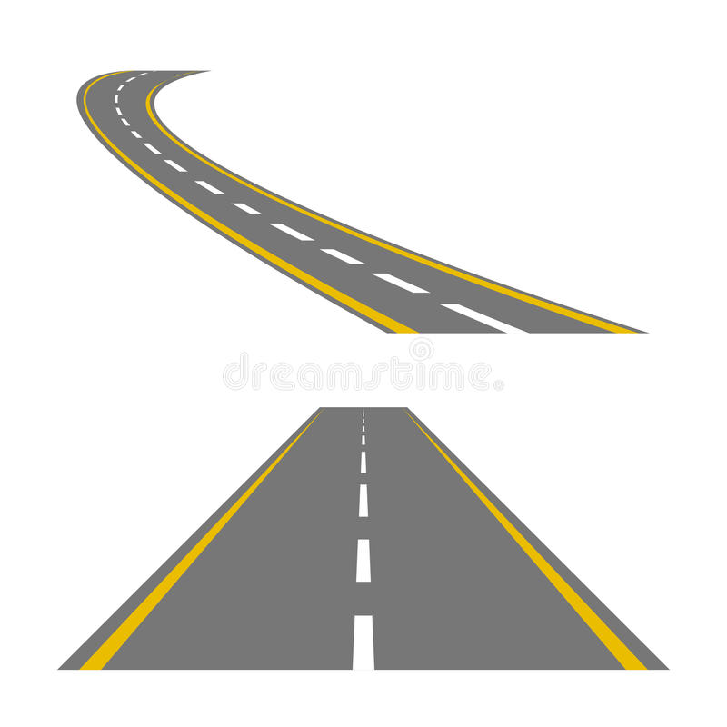 Strada o strada principale curva d'avvolgimento con le marcature illustrazione vettoriale