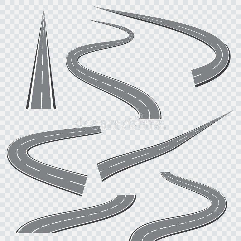 Strada o strada principale curva d'avvolgimento con le marcature Illustrazione di vettore illustrazione di stock
