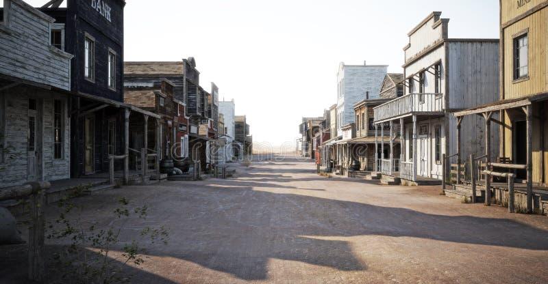 Strada occidentale della città con i vari commerci e profondità di campo illustrazione di stock