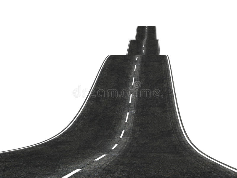 Strada ondulata 3d che sparisce sopra l'orizzonte illustrazione di stock