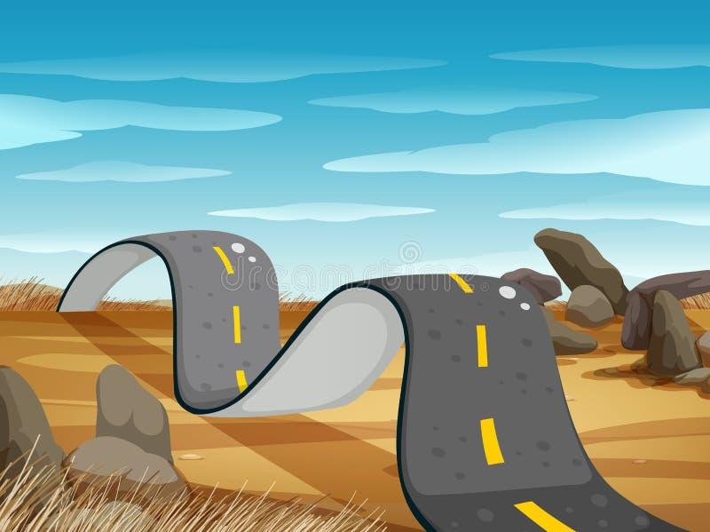Strada ondulata nel campo al giorno illustrazione vettoriale
