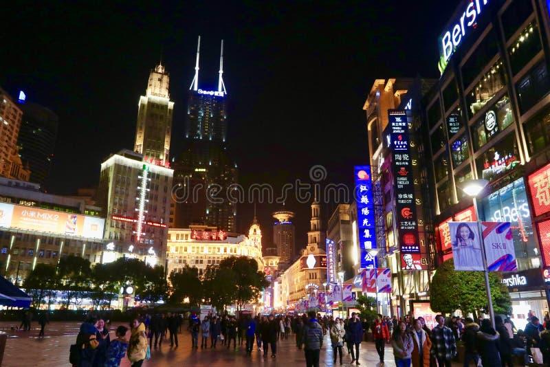 Strada orientale di Nanchino, Shanghai fotografie stock libere da diritti