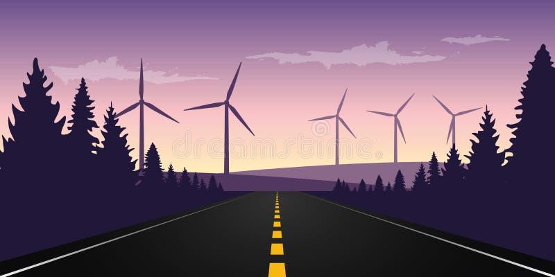 Strada pavimentata diritta all'orizzonte con il parco del mulino a vento illustrazione vettoriale