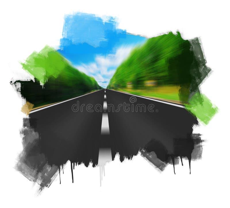Strada precisa che scompare sopra l'orizzonte illustrazione vettoriale