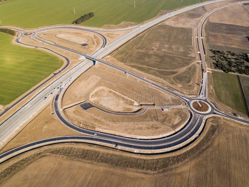 Strada principale nella vista aerea della Polonia fotografia stock libera da diritti