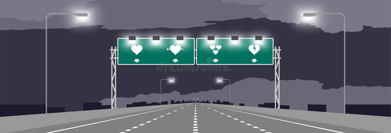 Strada principale o autostrada e contrassegno verde con progettazione di massima del biglietto di S. Valentino di simbolo del cuo royalty illustrazione gratis