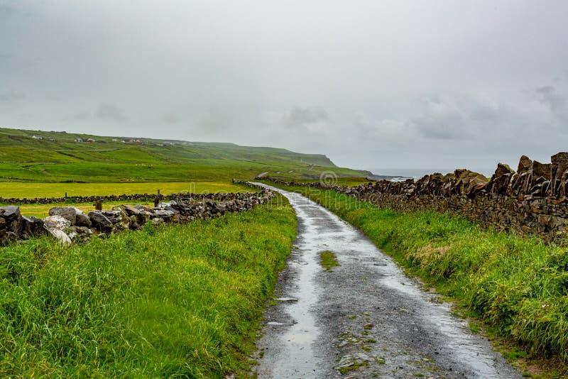 Strada rurale fra la campagna irlandese da Doolin alle scogliere di Moher fotografia stock