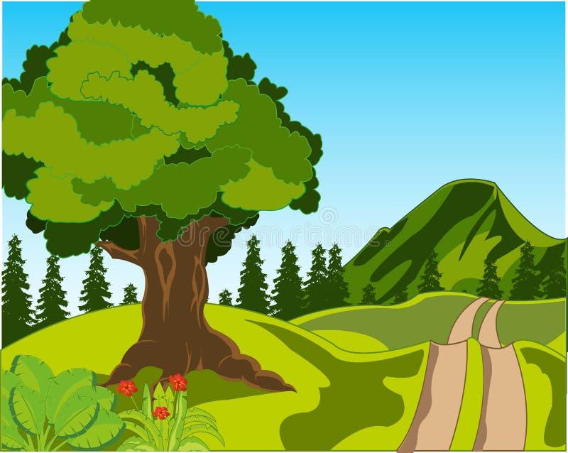 Strada rurale sul giorno di anno della natura Illustrazione di vettore illustrazione di stock
