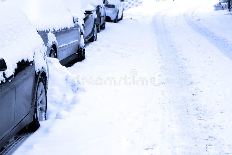 Strada Snowbound immagine stock