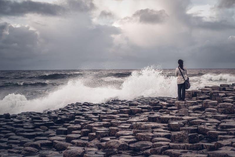 Strada soprelevata gigante del ` s, Irlanda del Nord fotografie stock libere da diritti