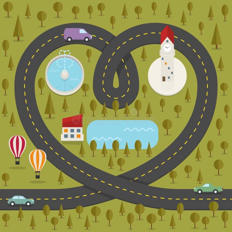 Strada sotto forma di cuore illustrazione vettoriale